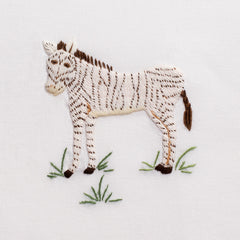 Zebra<br>Hand Towel - White Cotton