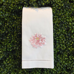 Peony<br>Hand Towel - White Cotton