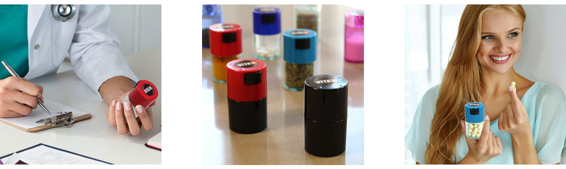 TV0 Pill Storage, great for storing vitamins and daily medicines. Keeps pills vacuum safe.