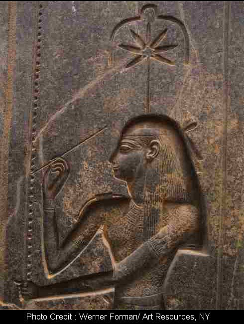 The ancient Egyptian goddess Seshat is depicted with a hemp leaf in her head dress.