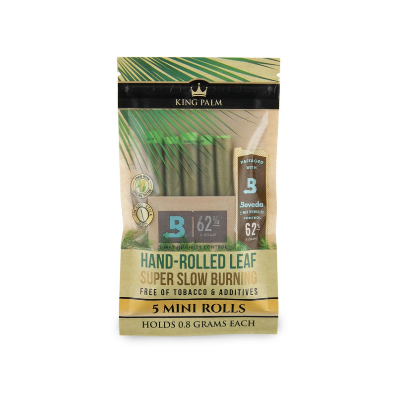 KING PALM - SUPER SLOW BURNING ROLLS 5/PK w / BOVEDA