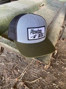 Gray and Green Plowboy Hat