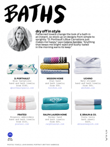 Our COSTA towel was featured in the April issue of Architectural Digest