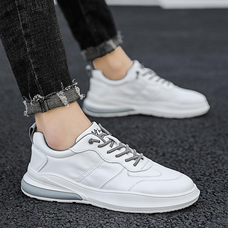 Fashion Men's Sneakers Leather Air Cushion Shoes Tide Rubber Sole