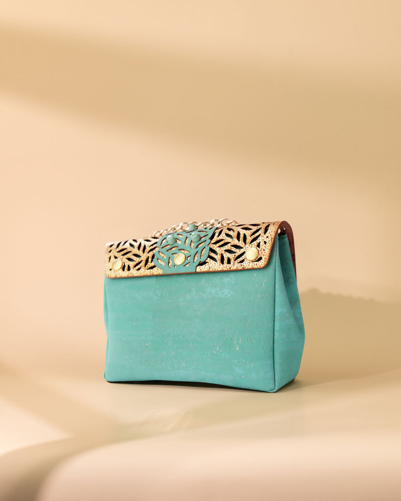 MINT CORK CROSSBODY BAG GOLD AND MINT TEXTURE FLAP