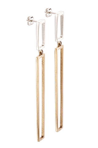 Long Silver & Bronze Reck Earrings