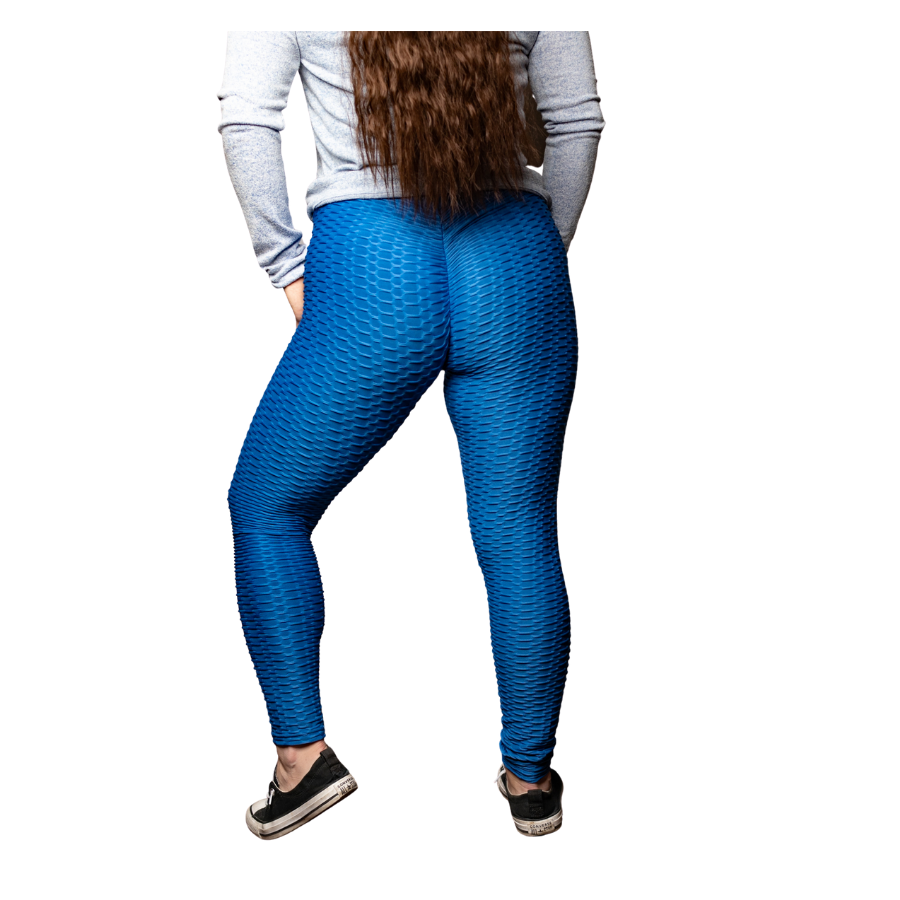 High Waisted Brazilian Leggings, Blue