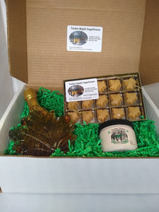 Maple Gift Box Set of 250 ml Maple Syrup Leaf Half Pound Maple Cream and 15 Piece Maple Candy Made By Tucker Maple Sugarhouse