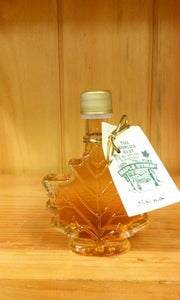 Glass Maple Leaf Filled with Pure Maple Syrup