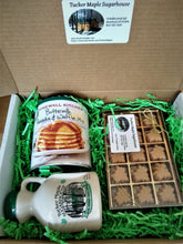 Load image into Gallery viewer, Maple Gift Box Set of Pint Jug of Maple Syrup 15 piece Maple Candy and Pancake Mix