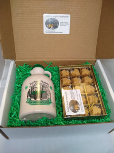 Maple Gift Box Set of Quart Jug of Maple Syrup and 15 pc Maple Candy made by Tucker Maple Sugarhouse