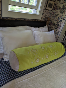 Long Lime Green Embroidered Bolster