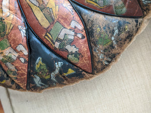 Round Egyptian Leather and Velvet Pillow