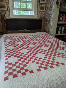 Hand Sewn 1800's Red and White Quilt