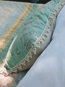 French Turquoise Vintage Fabric Pillow