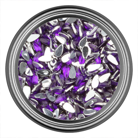 Purple Dark Tear Drop Rhinestones