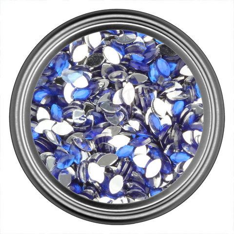 Blue Dark Oval Rhinestones