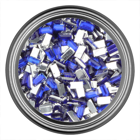 Blue Dark Rectangle Rhinestones