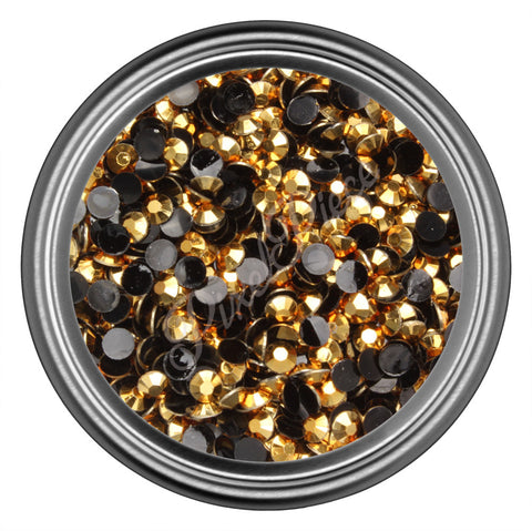 Gold Round Resin Rhinestones 2mm 3mm 4mm 5mm 6mm