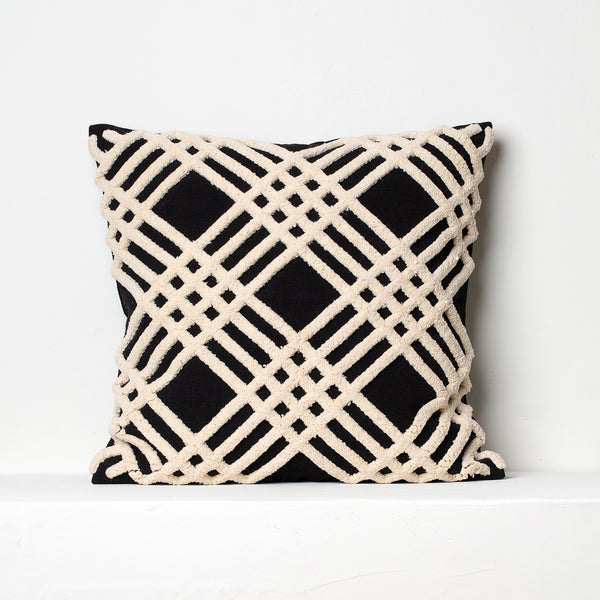 Chenille Cushion- Black and Beige