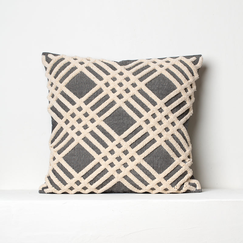 Chenille Cushion- Grey and Beige