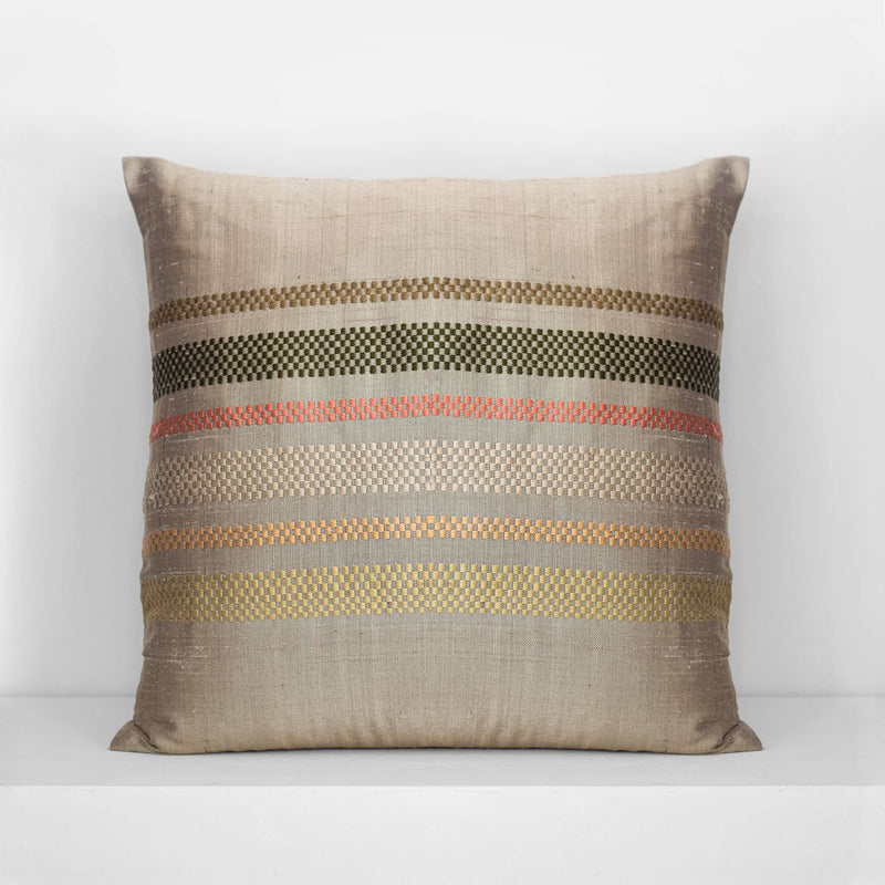 Brocade Stripe Cushion – Hemp