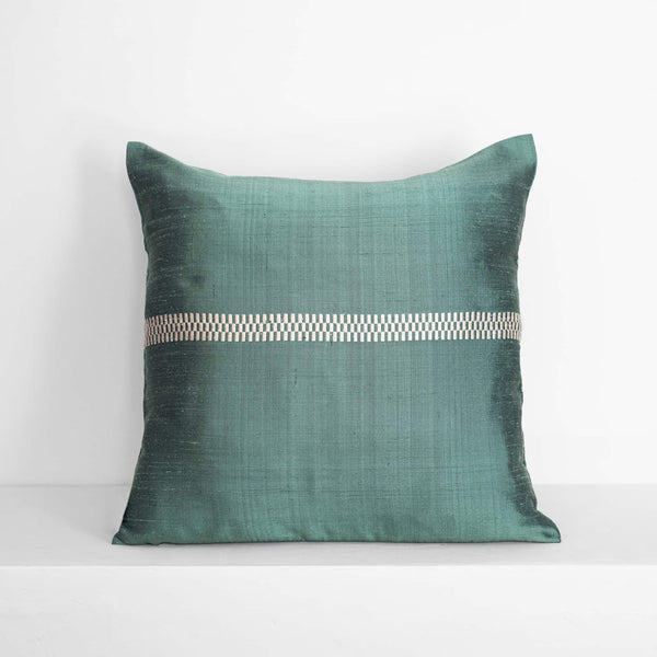 Brocade Stripe Cushion – Petrol