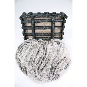Faux Grey Fur With Brown Highlights With Fleece Back Throw Blanket