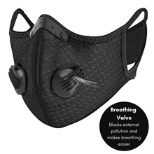 Load image into Gallery viewer, Performance Sports Face Mask with Activated Carbon Filter and Breathing Valves