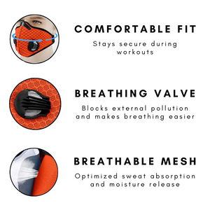 Performance Sports Face Mask with Activated Carbon Filter and Breathing Valves