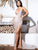 LOVE&LEMONADE Criss-cross Backless Split Thigh Glitter Maxi Slip Dress