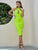 Sesidy Neon Green Cut Out Front Rib-knit Bodycon Dress