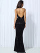 Elastic Sequin V Collar Exposed Back Long Dress