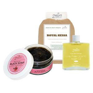 Zakia's Morocco Argan Oil + Black Soap Gift Set