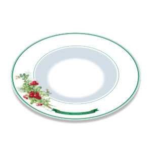 A white bone china plate with green borders and illustration of cranberry plant