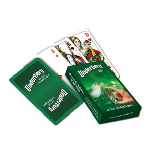 Set of old-fashioned Doppelkopf playing cards in green Underberg-themed box