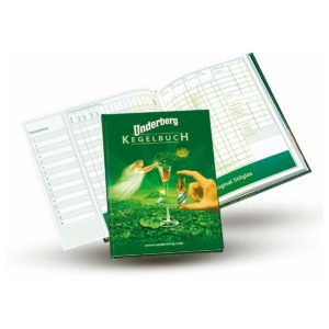 A green bowling score-keeping book decorated with the Underberg logo and the image of a fairy
