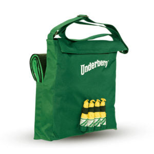 Green Underberg bag with picnic blanket and four loops for bottles
