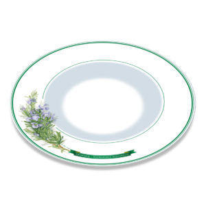 A white bone china plate with green borders and illustration of Rosemary