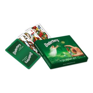 Set of old-fashioned Rummy playing cards in green Underberg-themed box