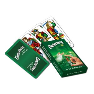 Set of old-fashioned Schafkopfkarten playing cards in green Underberg-themed box