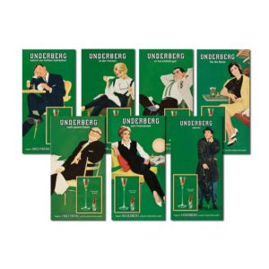 Seven green vintage-style tin signs depicting old-fashioned people with the Underberg logo