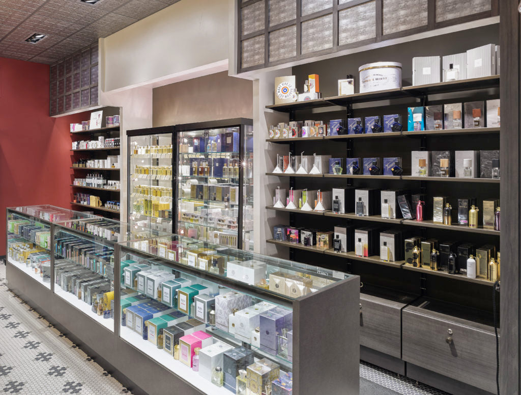 The niche fragrance counter at Merz Apothecary