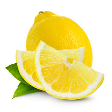 A lemon with two slices and leaves