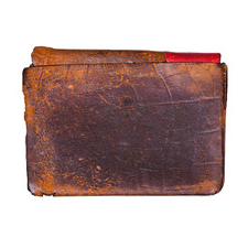Rectangular pices of old, worn leather