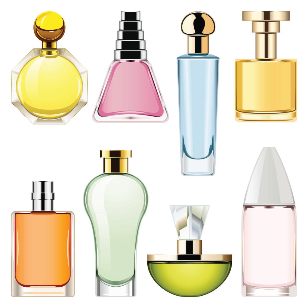 Bright and colorful bottles of perfume with different shapes and no labels