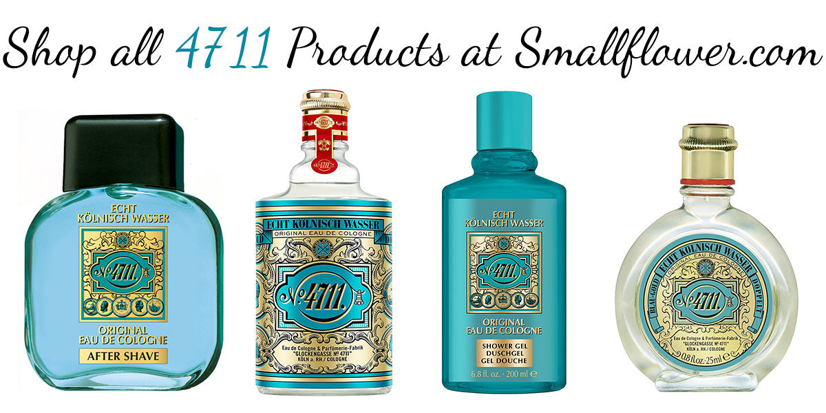 """Four 4711 scented products with a banner that say """"Shop all 4711 Products at Smallflower.com"""""""