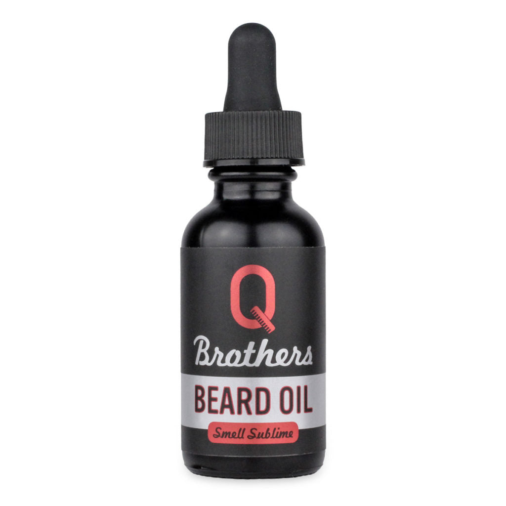 Black bottle of Q Brothers Beard Oil with dropper lid