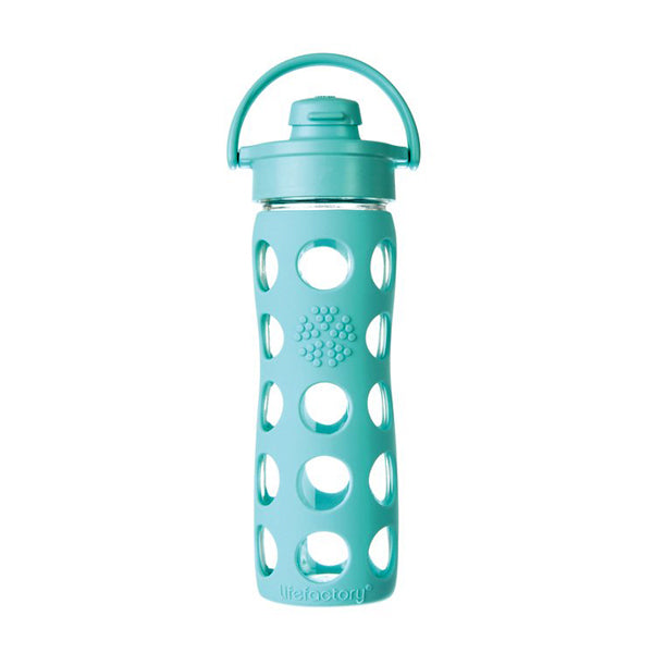 A glass water bottle with light blue plastic detailing