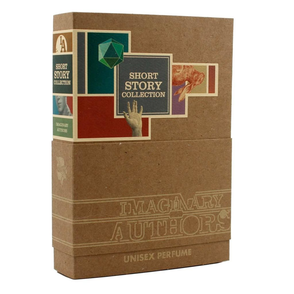A cardboard box shaped like a book and decorated with the Imaginary Authors logo and colorful illustrations